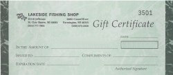 Fishing Tackle Gift Certificate